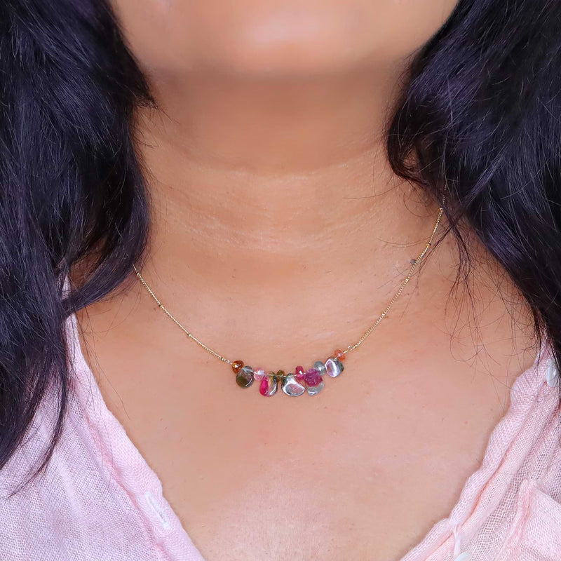 Kaleidoscope - Watermelon Tourmaline Trapeze Necklace life style image | Breathe Autumn Rain Artisan Jewelry