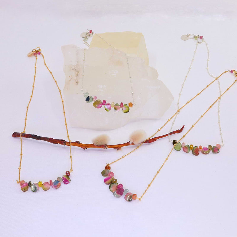 Kaleidoscope - Watermelon Tourmaline Trapeze Necklace main image | Breathe Autumn Rain Artisan Jewelry