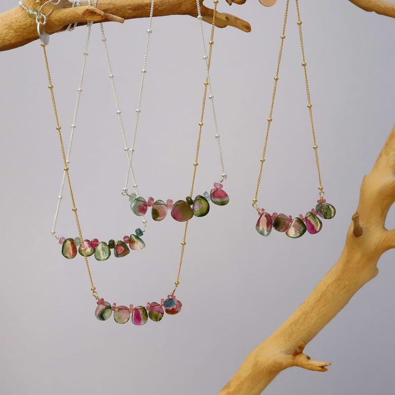 Kaleidoscope - Watermelon Tourmaline Trapeze Necklace alt image | Breathe Autumn Rain Artisan Jewelry