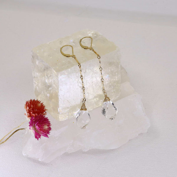 Katya - Crystal Quartz Drop Gold Earrings main image | Breathe Autumn Rain Artisan Jewelry
