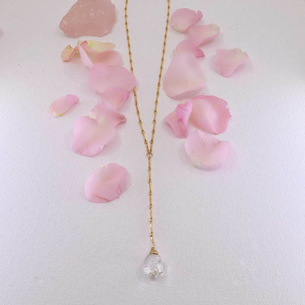 Katya - Crystal Quartz Lariat Drop Gold Layering Necklace main image | Breathe Autumn Rain Artisan Jewelry