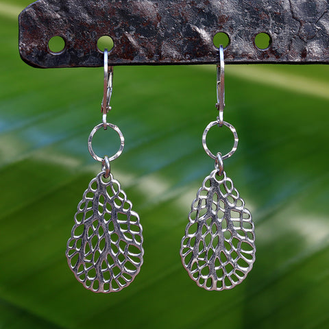 Key West - Sterling Silver Sea Fan Teardrop Earrings