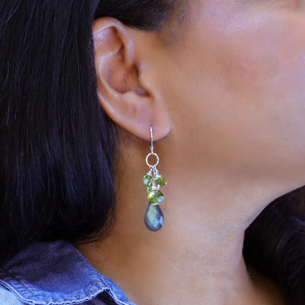 Labrador - Labradorite and Peridot Drop Earrings life style image | Breathe Autumn Rain Artisan Jewelry