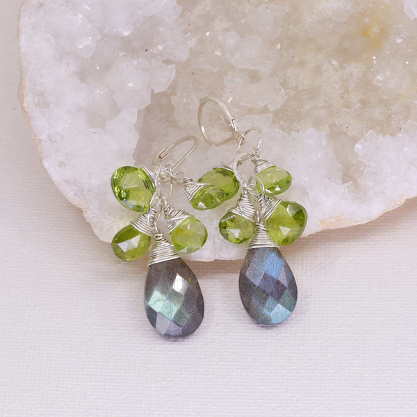 Labrador - Labradorite and Peridot Drop Earrings main image | Breathe Autumn Rain Artisan Jewelry