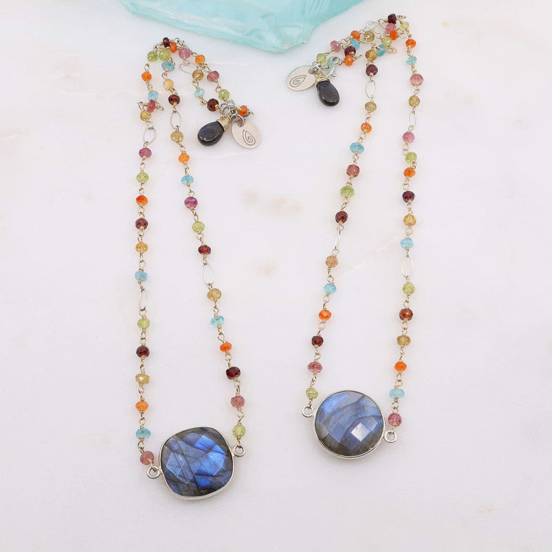 Harlequin - Labardorite Multi-Gemstone Necklace alt image | Breathe Autumn Rain Artisan Jewelry
