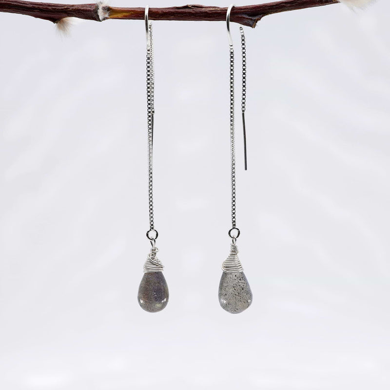 Labradorite Silver Thread Earrings alt image | Breathe Autumn Rain Artisan Jewelry