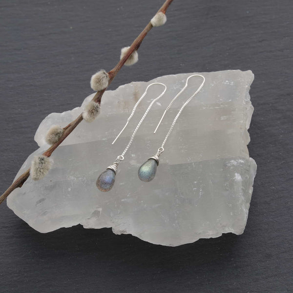 Labradorite Silver Thread Earrings main image | Breathe Autumn Rain Artisan Jewelry