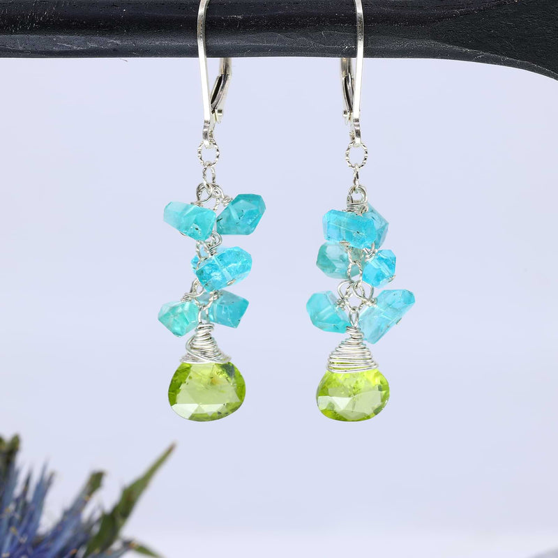 Lagoon - Peridot and Apatite Cluster Earrings alt image | Breathe Autumn Rain Artisan Jewelry