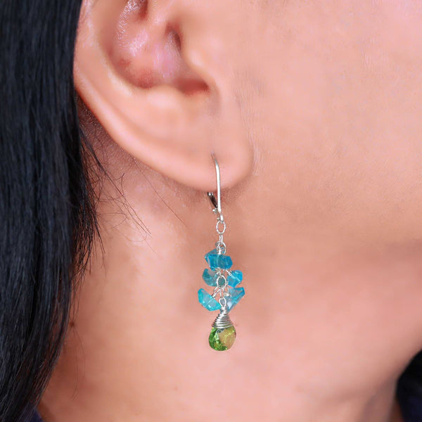 Lagoon - Peridot and Apatite Cluster Earrings life style image | Breathe Autumn Rain Artisan Jewelry