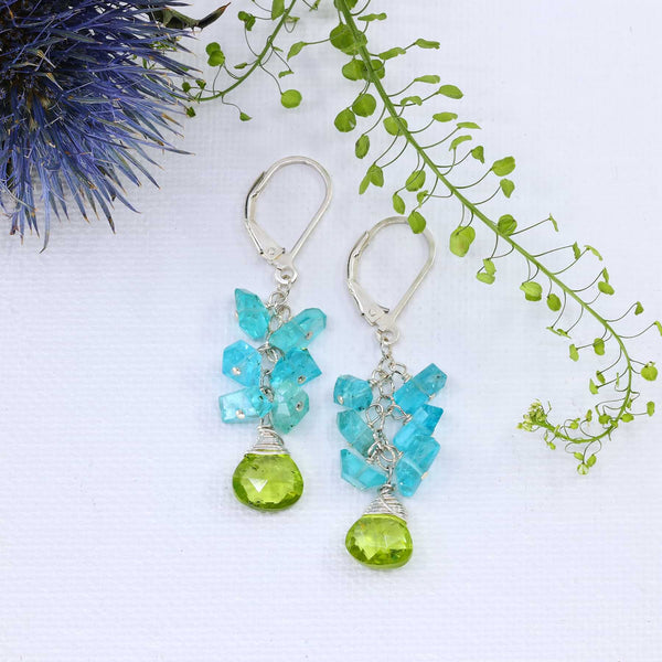 Lagoon - Peridot and Apatite Cluster Earrings main image | Breathe Autumn Rain Artisan Jewelry