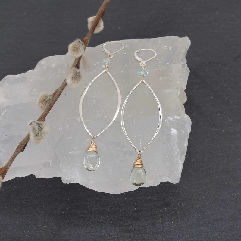 Lake - Green Amethyst Silver Drop Earrings main image | Breathe Autumn Rain Artisan Jewelry