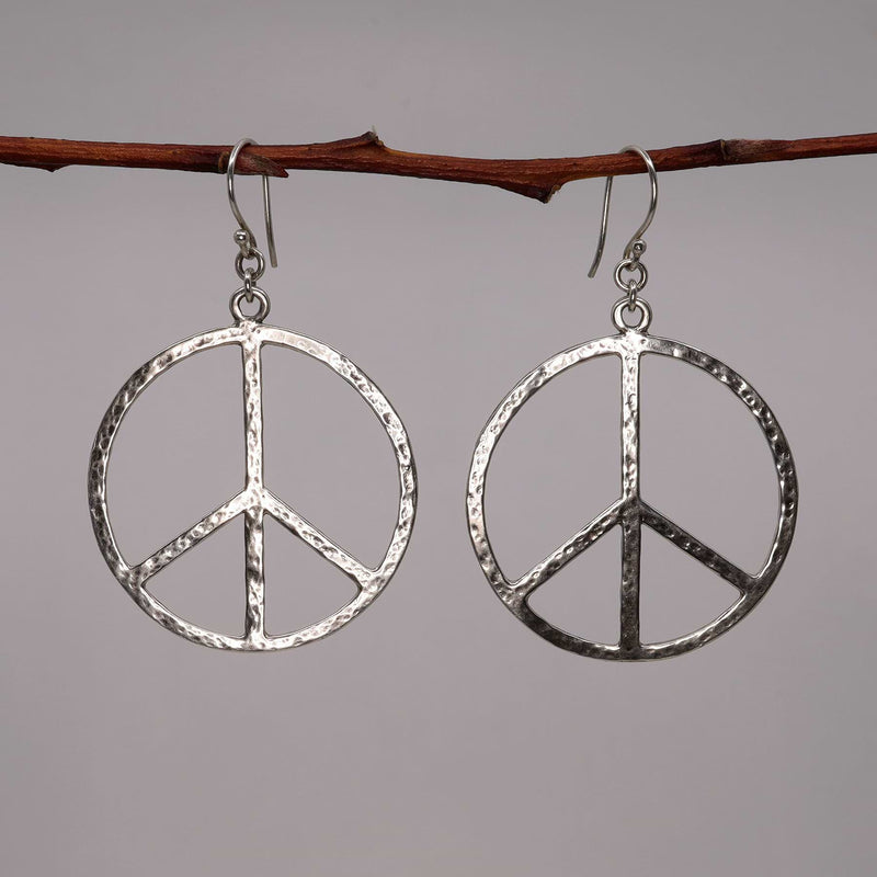 Lakeshore - Peace Sign Silver Hoop Earrings alt image | Breathe Autumn Rain Artisan Jewelry