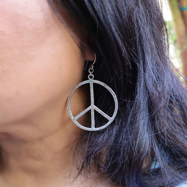 Lakeshore - Peace Sign Silver Hoop Earrings life style image | Breathe Autumn Rain Artisan Jewelry