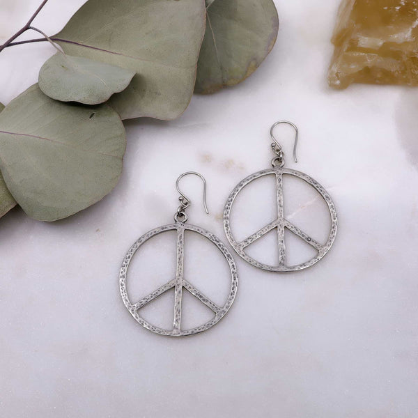 Lakeshore - Peace Sign Silver Hoop Earrings main image | Breathe Autumn Rain Artisan Jewelry