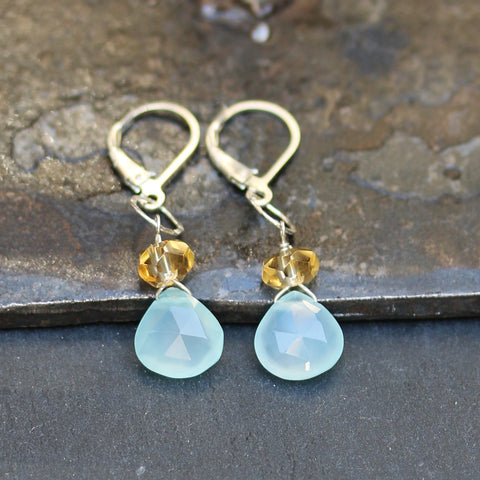 Larkspur - Seafoam Chalcedony and Citrine Teardrop Earrings