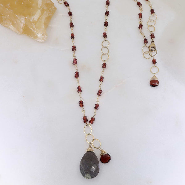 Larkspur - Garnet and Labradorite Necklace main image | Breathe Autumn Rain Artisan Jewelry