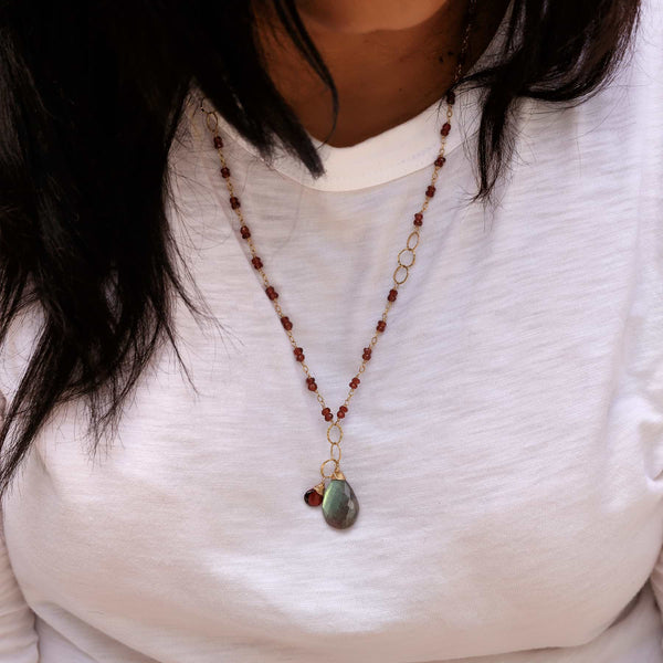 Larkspur - Garnet and Labradorite Necklace life style image | Breathe Autumn Rain Artisan Jewelry