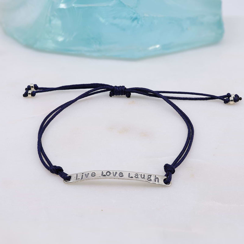 Live Love Laugh - Quote Bar Bracelet with Adjustable Cord alt2 image | Breathe Autumn Rain Artisan Jewelry
