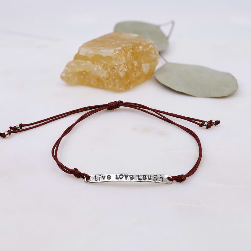 Live Love Laugh - Quote Bar Bracelet with Adjustable Cord alt image | Breathe Autumn Rain Artisan Jewelry
