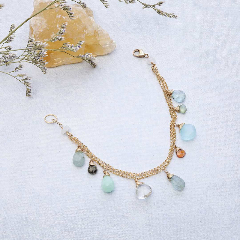 Lisbon - Aquamarine Multi-Gemstone Gold Bracelet alt image | Breathe Autumn Rain
