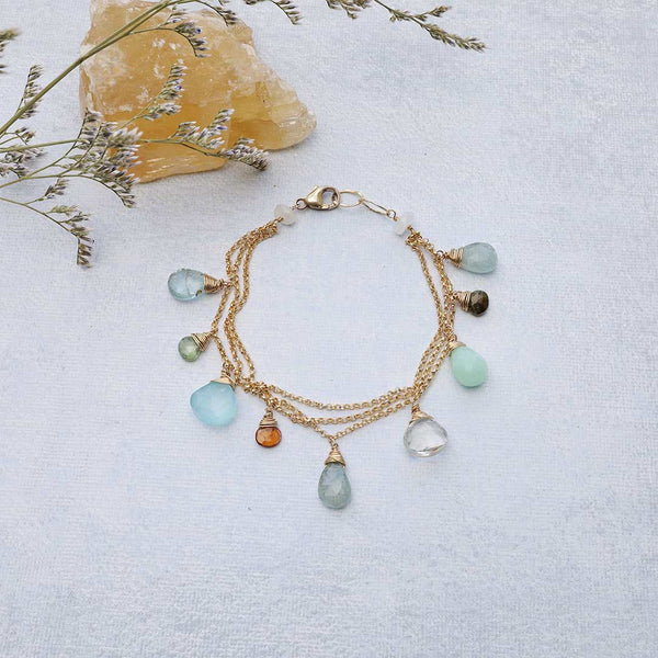 Lisbon - Aquamarine Multi-Gemstone Gold Bracelet main image | Breathe Autumn Rain