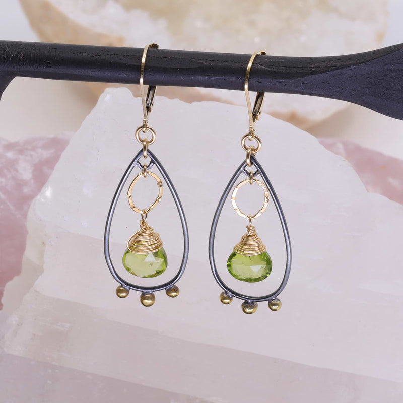 Liverpool - Mixed Metal Peridot Chandelier Earrings alt image | Breathe Autumn Rain Artisan Jewelry