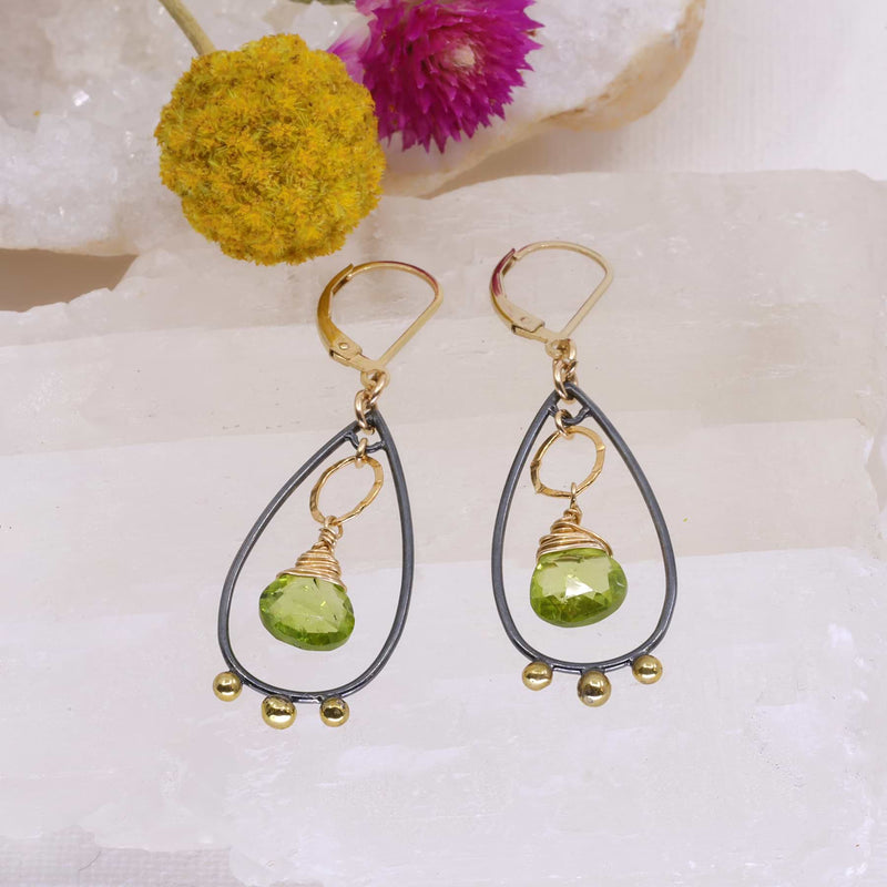 Liverpool - Mixed Metal Peridot Chandelier Earrings main image | Breathe Autumn Rain Artisan Jewelry