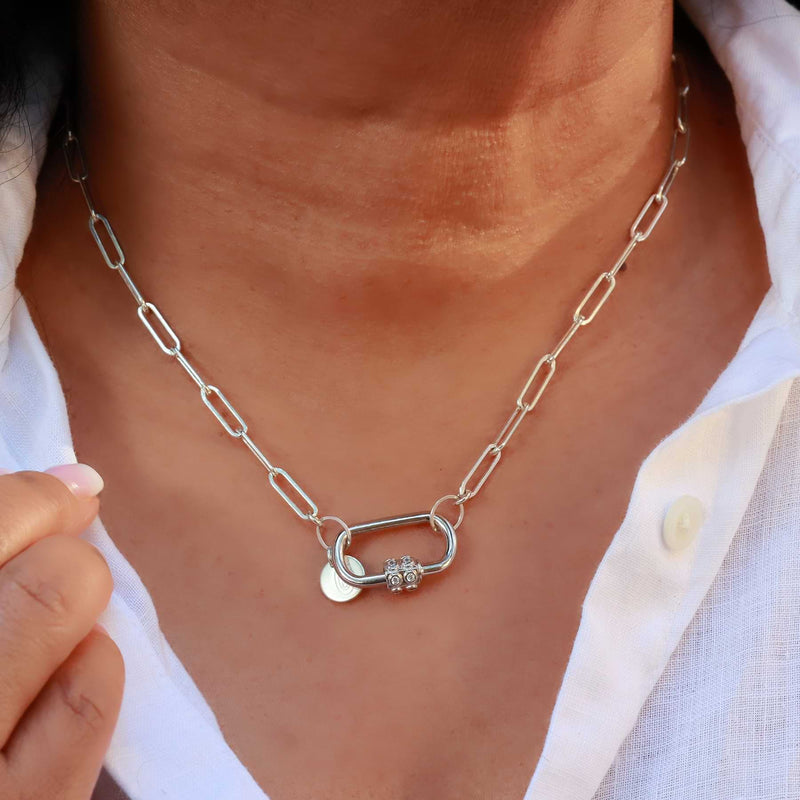 Locked and Loved - Mixed Metal Chain Link Carabiner Necklace Silver life style image | Breathe Autumn Rain Artisan Jewelry