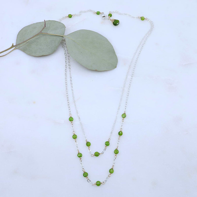 Londonberry - Chrome Diopside Sterling Silver Double Strand Necklace alt image | Breathe Autumn Rain Artisan Jewelry
