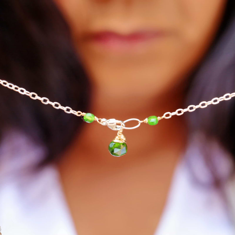 Londonberry - Chrome Diopside Sterling Silver Double Strand Necklace life style image | Breathe Autumn Rain Artisan Jewelry