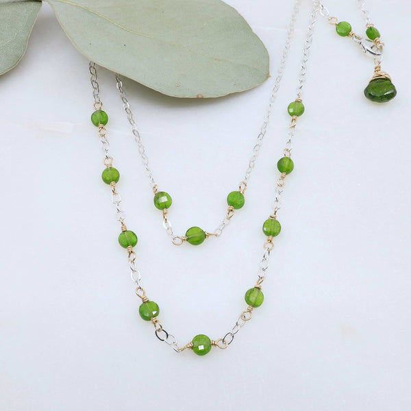 Londonberry - Chrome Diopside Sterling Silver Double Strand Necklace main image | Breathe Autumn Rain Artisan Jewelry