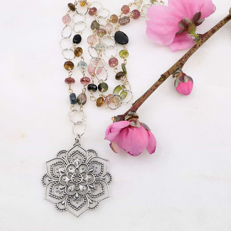 Lotus Rising - Multi Tourmaline Silver Lotus Mandala Pendant Necklace - main image | Breathe Autumn Rain Artisan Jewelry