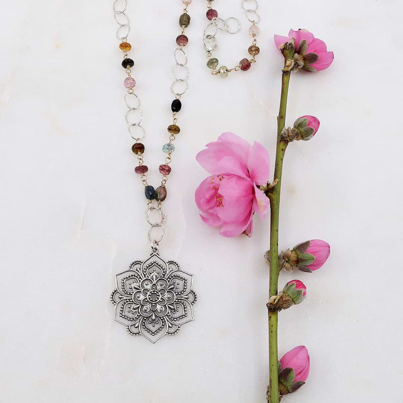 Lotus Rising - Multi Tourmaline Silver Lotus Mandala Pendant Necklace - alt image | Breathe Autumn Rain Artisan Jewelry