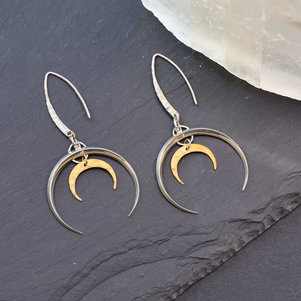 Lunar Spirit - Double Crescent Silver Moon Earrings
