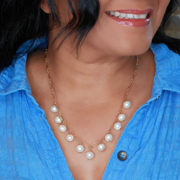 Maeve - Freshwater Pearl Gold Link Necklace life style image | Breathe Autumn Rain Artisan Jewelry