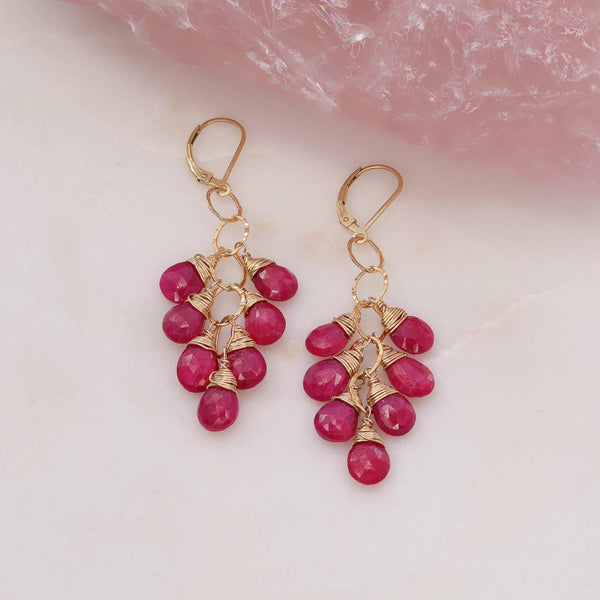 Majestic - Ruby Teardrop Gold Earrings main image | Breathe Autumn Rain Artisan Jewelry