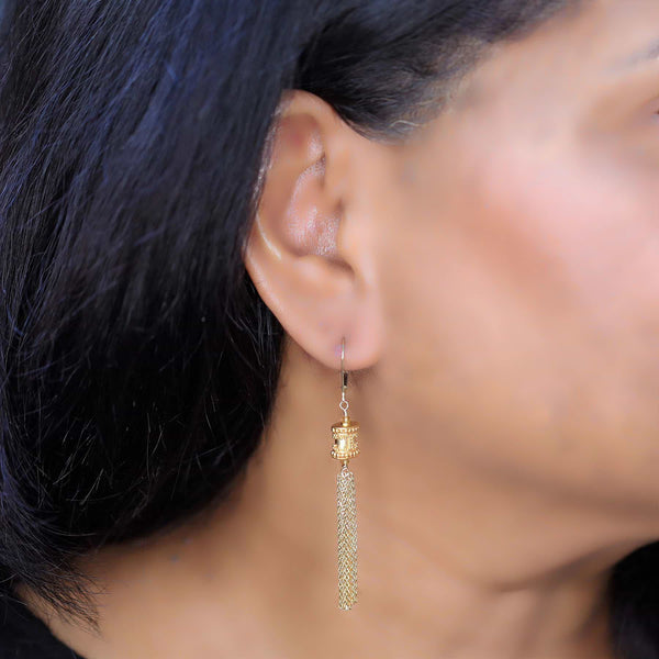 Maldives - Gold Tassel Dangle Earrings life style image | Breathe Autumn Rain Artisan Jewelry