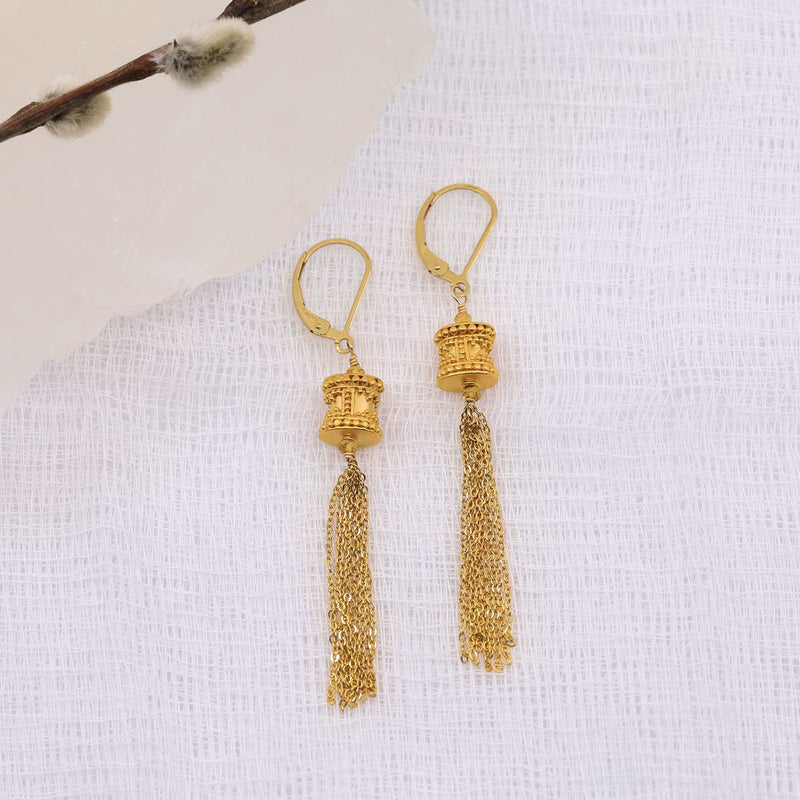 Maldives - Gold Tassel Dangle Earrings main image | Breathe Autumn Rain Artisan Jewelry