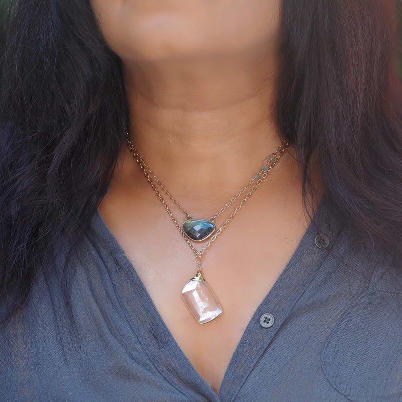 Manifestation - Quartz Crystal Gold Pendant Necklace life style layering image | Breathe Autumn Rain Artisan Jewelry