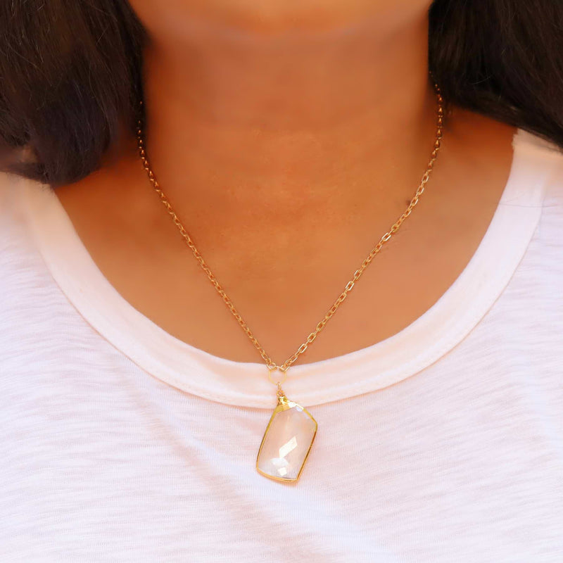 Manifestation - Quartz Crystal Gold Pendant Necklace life style image | Breathe Autumn Rain Artisan Jewelry