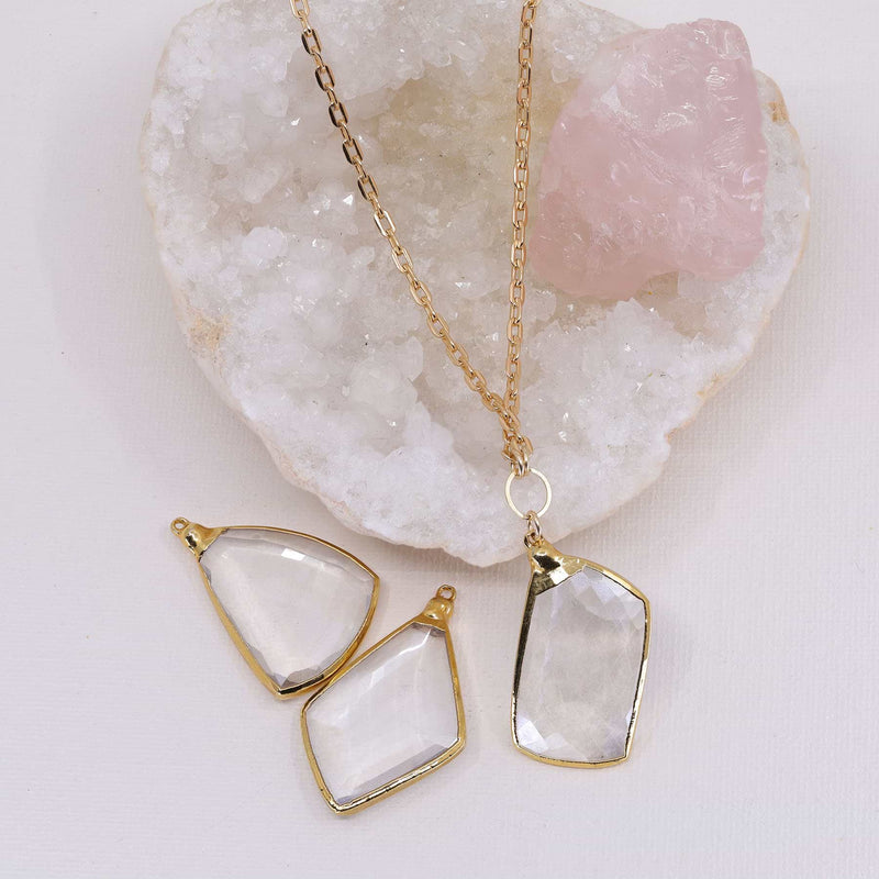 Manifestation - Quartz Crystal Gold Pendant Necklace alt image | Breathe Autumn Rain Artisan Jewelry