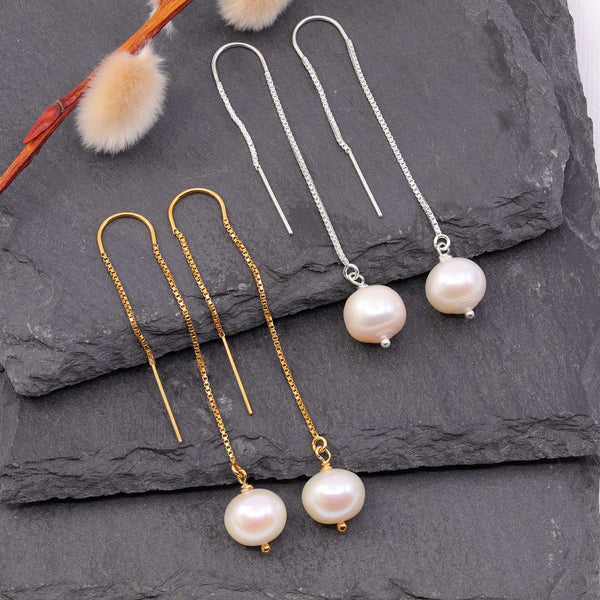 Manon - Freshwater Pearl Threader Earrings main image | Breathe Autumn Rain Artisan Jewelry