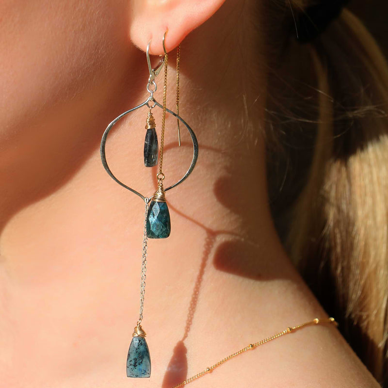 Marina - Kyanite Gold Thread Earrings life style alt image | Breathe Autumn Rain Artisan Jewelry