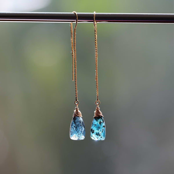 Marina - Kyanite Gold Thread Earrings main image | Breathe Autumn Rain Artisan Jewelry