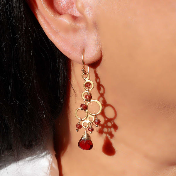Marrakesh - Garnet Gold Chandelier Earrings life style image | Breathe Autumn Rain Artisan Jewelry