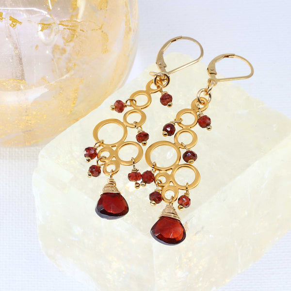Marrakesh - Garnet Gold Chandelier Earrings main image | Breathe Autumn Rain Artisan Jewelry
