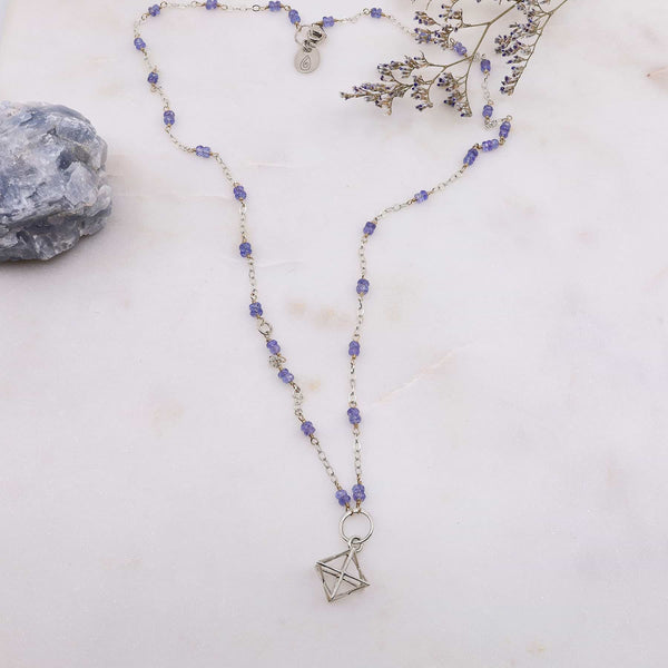 Merkabah Pendant Tanzanite Necklace alt image | Breathe Autumn Rain Artisan Jewelry