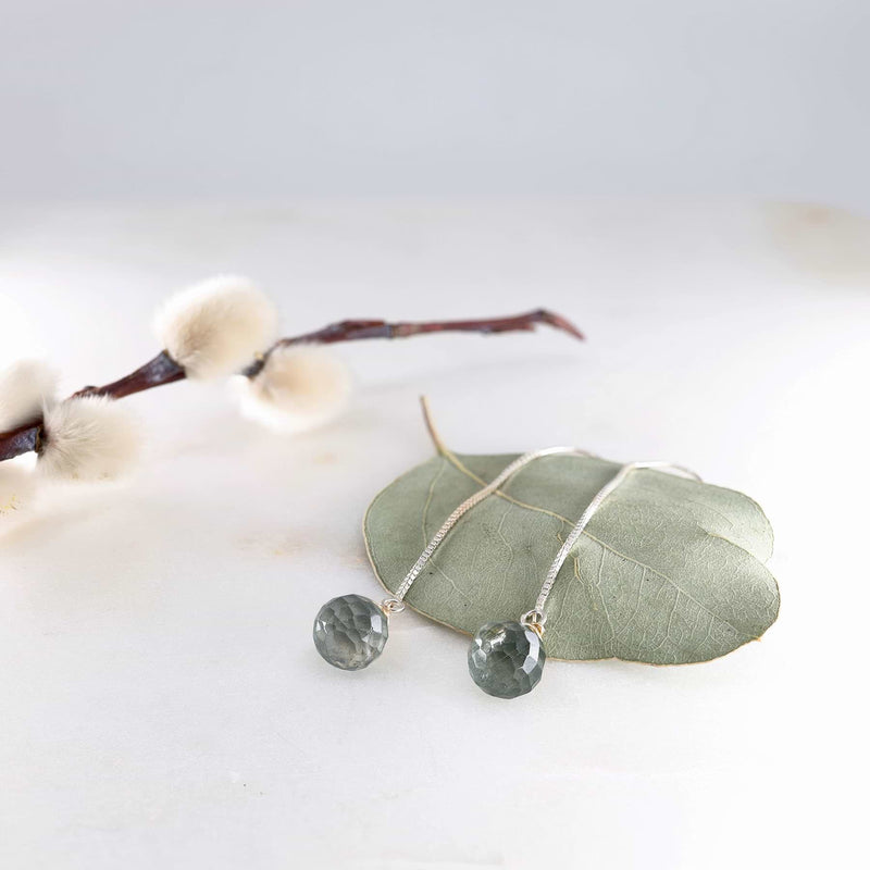 Moss Aquamarine Silver Thread Earrings alt2 image | Breathe Autumn Rain Artisan Jewelry