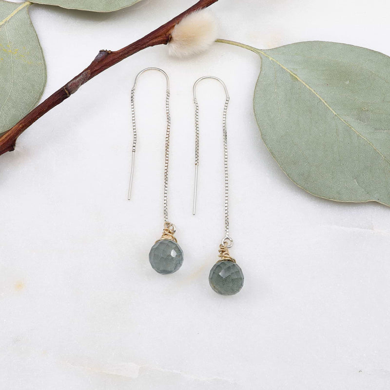 Moss Aquamarine Silver Thread Earrings main image | Breathe Autumn Rain Artisan Jewelry