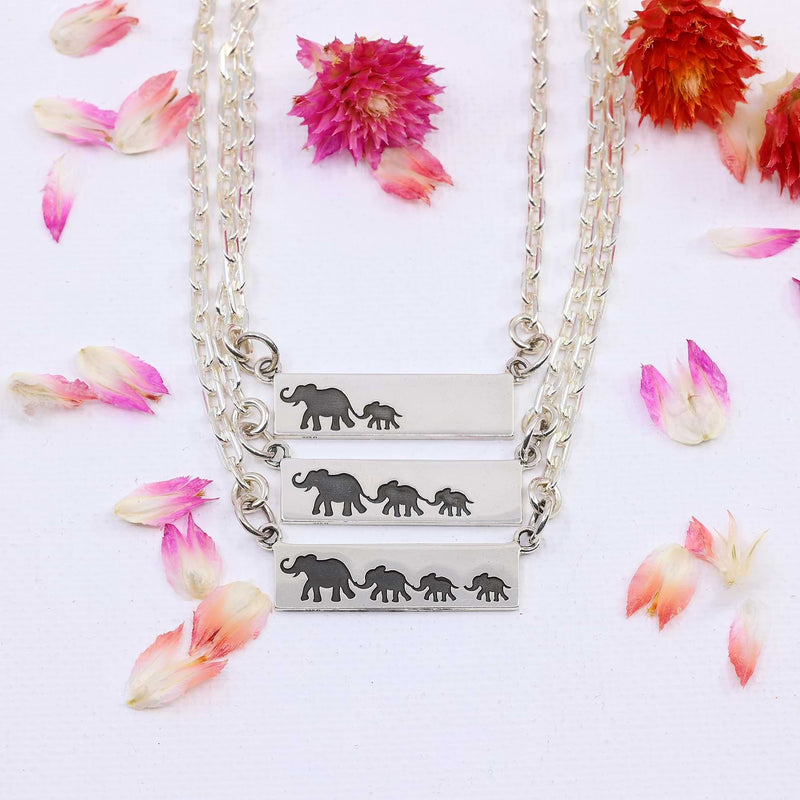 Mother's Love - Sterling Silver Elephant Bar Necklace detail image | Breathe Autumn Rain Artisan Jewelry